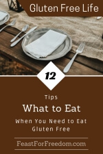 Pinterest mini image - 12 tips, what to eat when you need to eat gluten free, with a picnic table dinner service setting