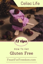 Pinterest mini image - 12 tips, how to eat gluten free with frozen fruit popsicles displayed with fresh berries and dark leaves