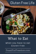 Pinterest mini image - What to eat when you have to eat gluten free with a hearty seafood and veggie bowl with chick peas