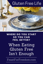Pinterest mini image - Where do you start so you can feel better when gluten free isn't enough with dinner setting with blue plates and yellow roses
