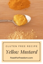 Pinterest mini image - Yellow mustard on a spoon next to small piles of turmeric and mustard powder