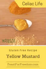 Pinterest mini image - Yellow mustard on a spoon next to small piles of mustard powder and turmeric