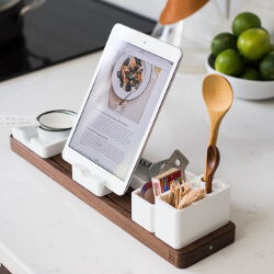 Recipe on tablet in kitchen