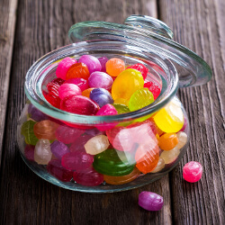 Hard candy in a glass jar