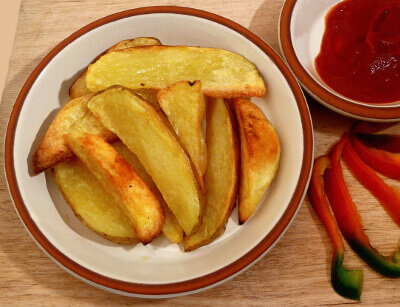 Baked potato wedges on a plate