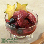 Berry sorbet in a small dish