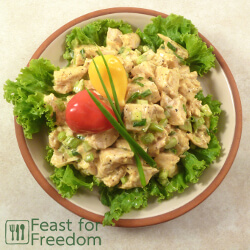 Chicken salad on a plate with lettuce