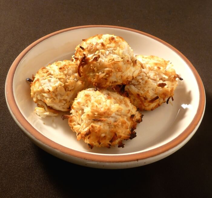 Coconut macaroon cookies on a plate