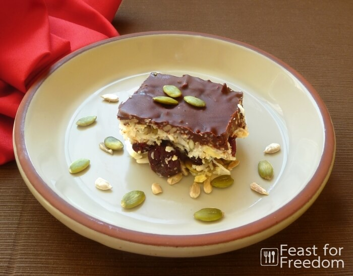 Coconut and Nut Flourless cake with a chocolate coating