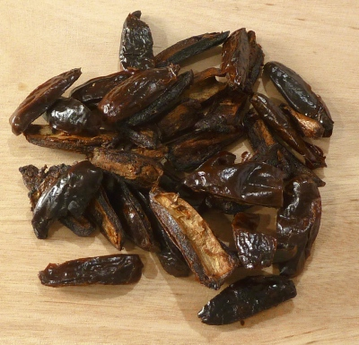 Roasted dates on a cutting board