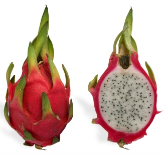 Red Dragon Fruit, showing white center