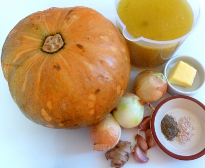 Ingredients for the squash soup recipe - squash, butter, onions, chicken stock, ginger, garlic, salt and pepper.