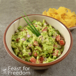 Fresh guacamole with chips