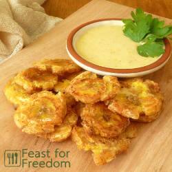 Fried plantains with a garlic lime dip