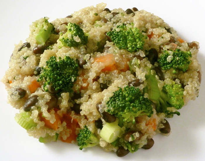 Quinoa with broccoli and black beans