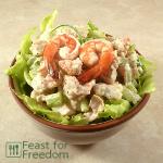 Creamy shrimp salad on lettuce
