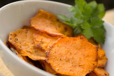 Yam potato chips in a white bowl